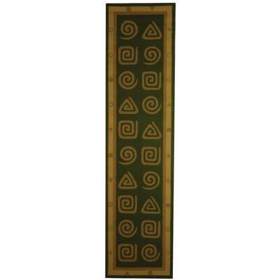 Bridges Green Geo Area Rug Rug Size: Runner 26 x 10
