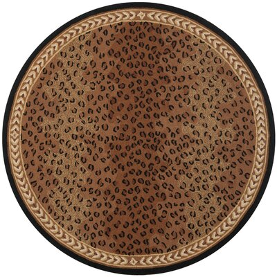 Bridges Black&Brown Area Rug Rug Size: Round 7