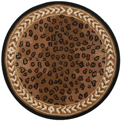 Bridges Black&Brown Area Rug Rug Size: Round 3