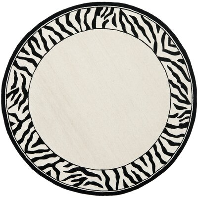Bridges White/Black Area Rug Rug Size: Round 3