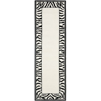 Bridges White/Black Area Rug Rug Size: Runner 26 x 6
