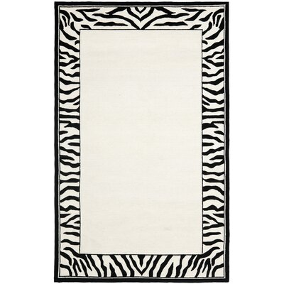 Bridges White/Black Area Rug Rug Size: Rectangle 53 x 83