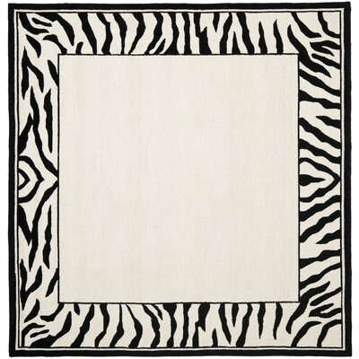 Bridges White/Black Area Rug Rug Size: Square 6