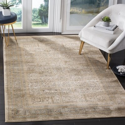 Branch Ivory/Light Blue Area Rug Rug Size: 51 x 77