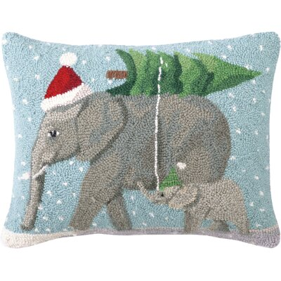 Jaron Elephants Hook Wool Throw Pillow