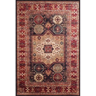 Borderlands Curran Chocolate/Red/Ivory Oriental Rug Rug Size: 53 x 76