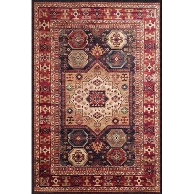 Borderlands Curran Chocolate/Red/Ivory Oriental Rug Rug Size: 53 x 76
