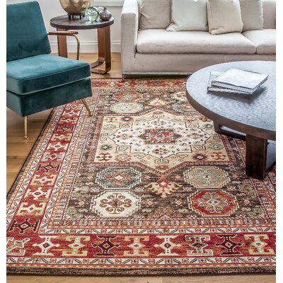 Borderlands Curran Red/Brown Oriental Rug Rug Size: 53 x 76