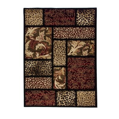 Emeril Leopard Animal Print Black Area Rug Rug Size: 93 x 126