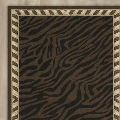 Boronia Hand-Hooked Brown Area Rug Rug Size: 86 x 116