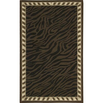 Skandar Hand-Hooked Wool Brown Indoor Area Rug Rug Size: Rectangle 56 x 86