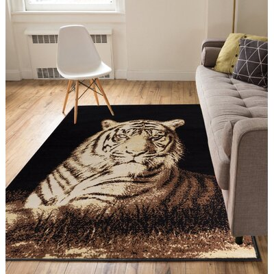 Annahda Tiger Black/Brown Animal Print Area Rug