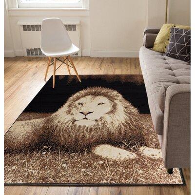 Emeline Lion Black/Brown Animal Print Area Rug