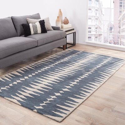 Abydos Gray/Ivory Striped Area Rug Rug Size: 5 x 8