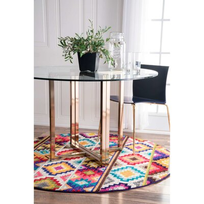 Vincent Retro Indoor Area Rug Rug Size: Round 5