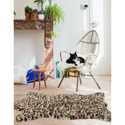 Tham Cream/Brown Indoor/Outdoor Area Rug Rug Size: 3 x 5