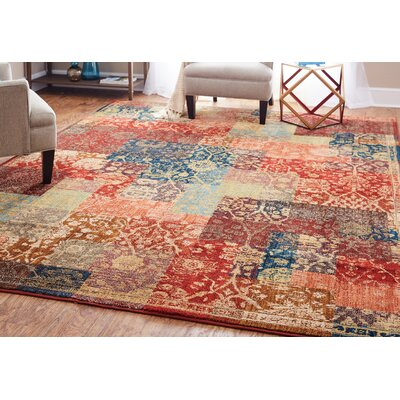 Kopstal Red Area Rug Rug Size: Rectangle 8 x 10