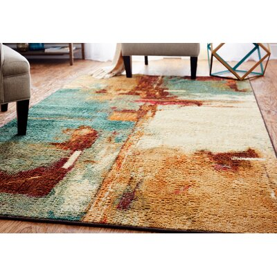 Florencia Aqua/Tan Area Rug Rug Size: Rectangle 6 x 9