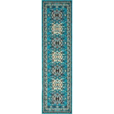 Sina Turquoise Area Rug Rug Size: Runner 22 x 82