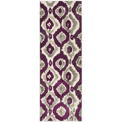 Deasia Ivory/Purple Area Rug Rug Size: Runner 24 x 67