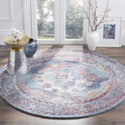Emily Hand-Tufted Blue Area Rug Rug Size: Round 6