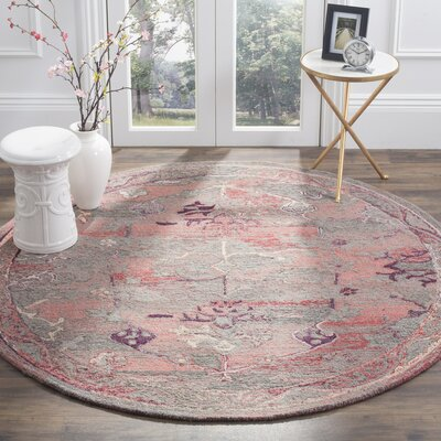 Harrelson Hand-Tufted Red Area Rug Rug Size: Round 6