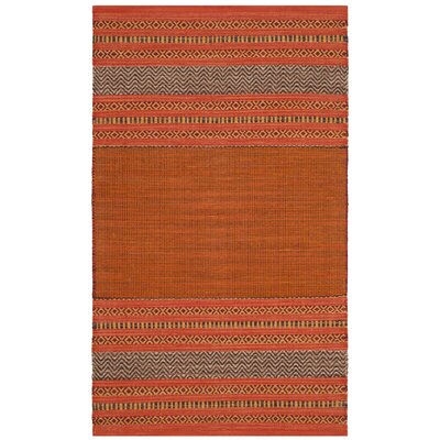 Bokara Hills Hand-Woven Orange/Red Area Rug Rug Size: Rectangle 26 x 4