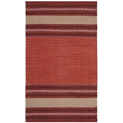 Bokara Hills Hand-Woven Red/Ivory Area Rug Rug Size: Rectangle 3 x 5