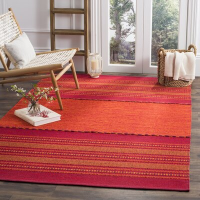 Bokard Hand-Woven Orange/Red Area Rug Rug Size: 5 x 8