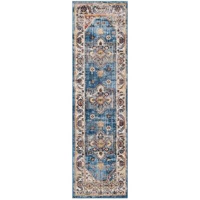 Ruwa Blue/Ivory Area Rug Rug Size: 9 x 12