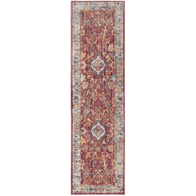 Amiens Rose/Light Gray Area Rug Rug Size: Runner 23 x 8