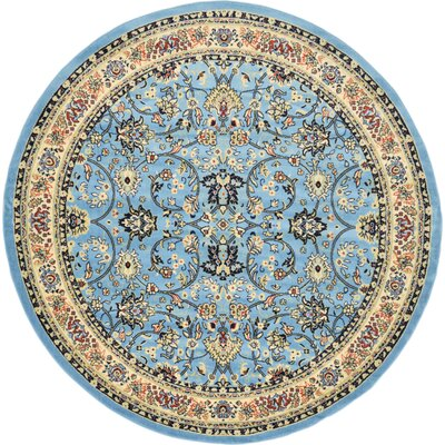 Essehoul Light Blue Area Rug Rug Size: Round 8