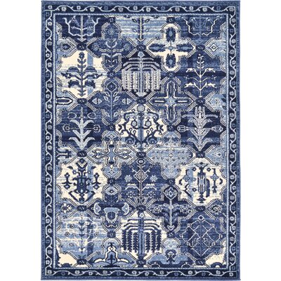 Irma Blue Area Rug Rug Size: Rectangle 4 x 6