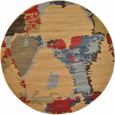 Jan Light Brown Area Rug Rug Size: Round 6