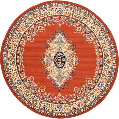 Astral Terracotta Area Rug Rug Size: Round 8