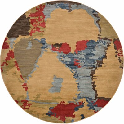 Jan Light Brown Area Rug Rug Size: Round 8