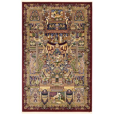 Altadena Burgundy Area Rug Rug Size: Rectangle 5 x 77