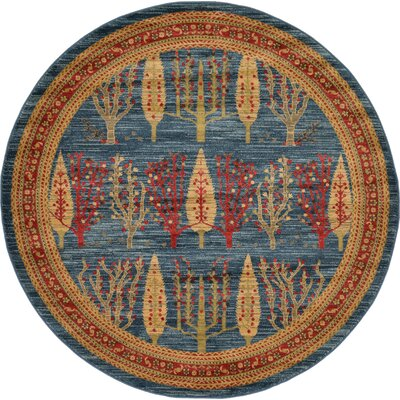 Foret Noire Blue Area Rug Rug Size: Round 6