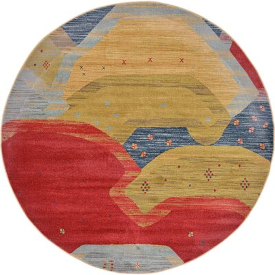 Jan Abstract Area Rug Rug Size: Round 6