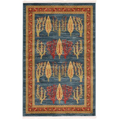 Foret Noire Blue Area Rug Rug Size: Rectangle 33 x 53
