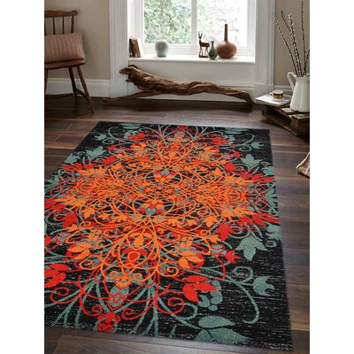 Anneliese Orange/Green Area Rug Rug Size: Rectangle 34 x 5
