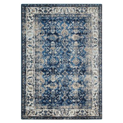 Areswell Ivory/Blue Area Rug Rug Size: Rectangle 6 x 9