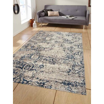 Apsley Beige/Blue Area Rug Rug Size: Rectangle 44 x 64