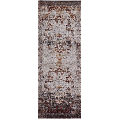 Brahim Red/Gray Area Rug Rug Size: Runner 27 x 73