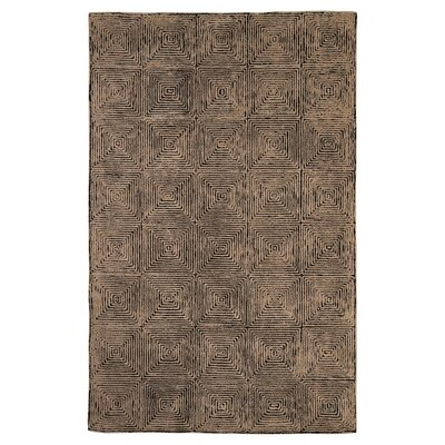 Alison Hand-Woven Taupe/Black Area Rug Rug Size: 5 x 8