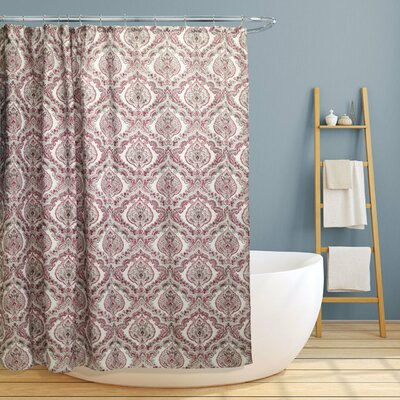 Majandra Paisley Damask Shower Curtain Color: Burgundy