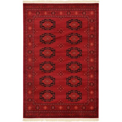 Kowloon Red Area Rug Rug Size: Rectangle 3.25 x 5.25