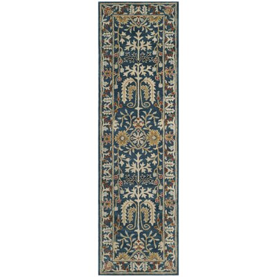 Genemuiden Hand-Tufted Dark Blue Area Rug Rug Size: Runner 23 x 8