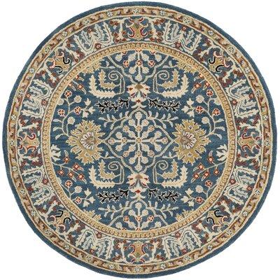 Genemuiden Hand-Tufted Dark Blue Area Rug Rug Size: Round 6 x 6