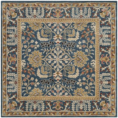 Genemuiden Hand-Tufted Dark Blue Area Rug Rug Size: Square 6 x 6